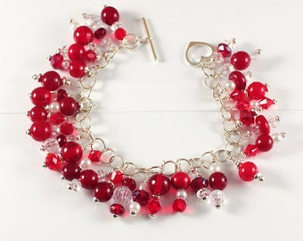 Red Glass Bracelet Cherry Lampwork Beads, Pearls, Swarovski Crystals with Sterling Silver findings, Heart Toggle Clasp, SRA