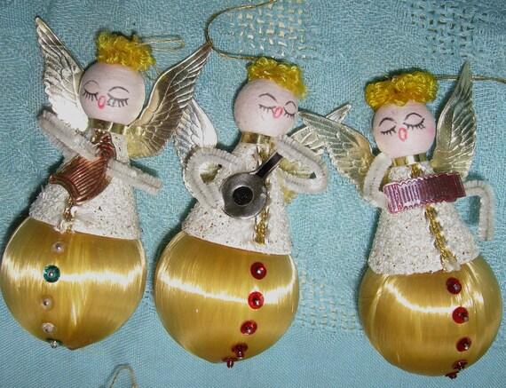 Vintage Angel Christmas Ornaments Chenille & Spun Cotton - Set of 6