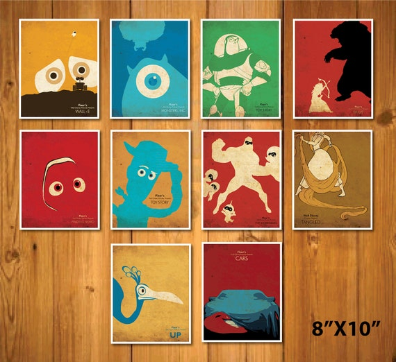 "Promotion-  8 X 10"" Walt Disney and Pixar posters set"