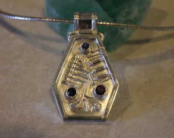 sterling silver & faceted stone electronic jewelry pendant