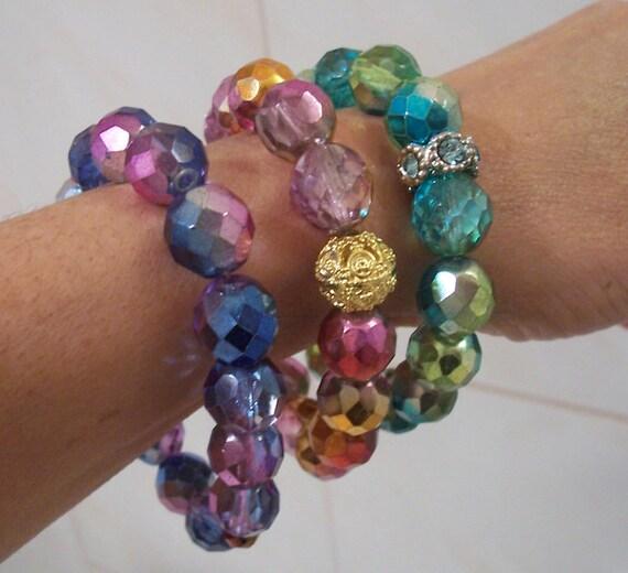 Crystal Czechoslovakian Fire Polished Glass Beaded Bracelets in Three Colors.