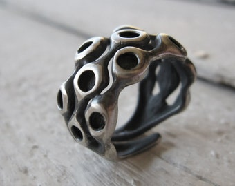 Ring, Organic Adjustable Handmade Ring in 925 Black Oxidized Antiqued Sterling Silver