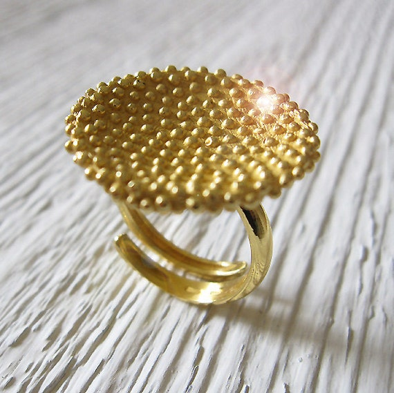 Polka Dots Adjustable Handmade Ring in Recycled 925 Sterling Silver with 18 Kt Gold plating, Fine Jewelry, Contemporary Engagement Ring