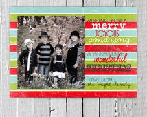 Wishing You a Happy Christmas Card Photo Printable, Red Green Blue and White Striped Christmas card, Photo Chirstmas Card, Fun Holiday Card