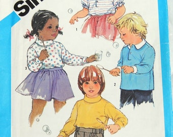 Simplicity 6610 Pattern - UNCUT- Time Saver, Stretch Knit, Toddler Pullover Top - Vintage - Fabulous!