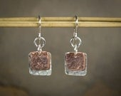 Handcut Hammered Recycled Sterling Silver Copper Square Earrings: Yoga Jewelry Vegan Jewelry Shanti Ahimsa Mantra Meditation LGBT Conscious