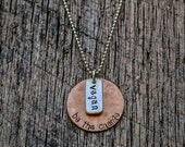 Vegan Be the Change Hand Stamped Copper and Recycled Sterling Silver Necklace: Eco-Friendly Unisex Yoga Jewelry Vegan Jewelry Men's Man's