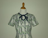 Green and Blue Chevron Stripe Houndstooth Fit and Flare Plus Size Vintage Dress