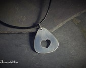 Guitar pick with Heart, cool pendant, nickel silver, handmade - AmulettaHu