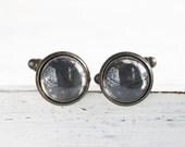 Men's Mirror Cuff Links - Hand Antiqued Mirrors on Oxidized Brass Finish Cuff Links - Steampunk Modern OOAK Gift for Him - AlchemyInGlass