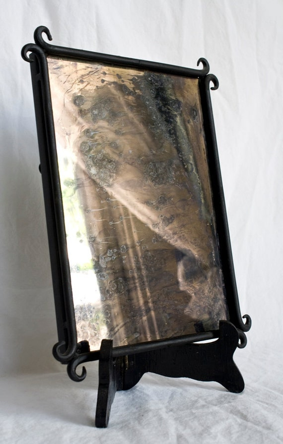 Hand Silvered Glass Mirror, Antiqued, One of A Kind, Front Silvered Lacquer Finish 8x6