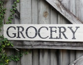 Hand painted, rustic grocery sign on reclaimed wood.