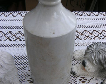 Antique Tall Stoneware Pot Bottle Ink Pot