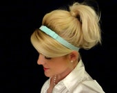 Frosted pale aqua small bow stretch headband