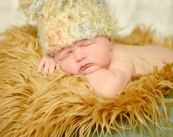 Mongolian Faux Fur Photography Prop Newborn Baby Toddler Soft Blanket Rug Nest Photo Prop Backdrop Camel 20inx13in.