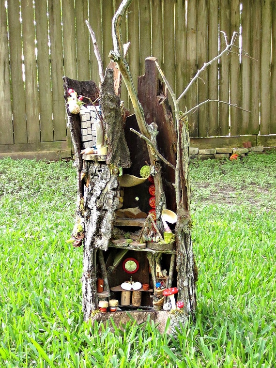 Grand Fairy House, Complete Fairy House with Kitchen, Shower, Hammock...Great for the Fairy Family