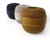 300gr/10,5 oz of organic Linen yarn, 2ply linen yarn, linen thread, black, gold