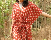 Oh Jennie Red Leafy Organic Cotton Kaftan Perfect as a long caftan dress, loungewear, beachwear, gift for bridesmaids, moms and to be moms