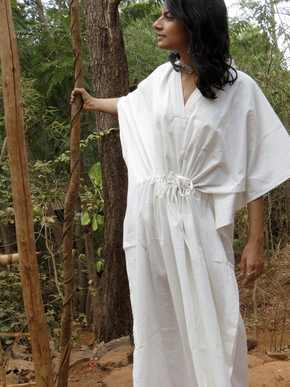 Oh Esther White Solid Organic Cotton Kaftan Perfect as a long caftan dress, loungewear, beachwear, gift for bridesmaids, moms and to be moms