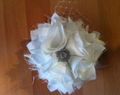 SALE White Satin Flower Accessory