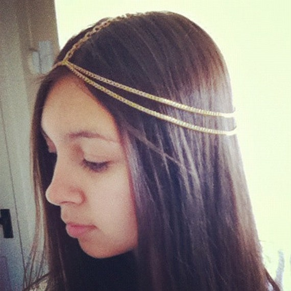 Etsy Chain Headpiece Gold Double Chain Headpiece