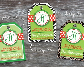 Christmas Printable Gift  tags personalized custom holiday tag Red Green Lime Zebra Leopard Monogram | PDF File, You Print