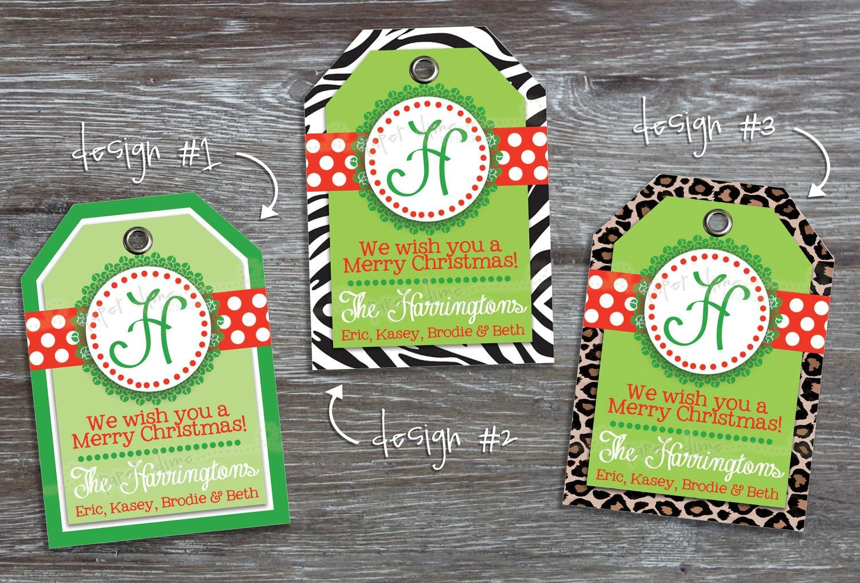 Christmas Printable Gift Tags Personalized Custom Holiday Tag