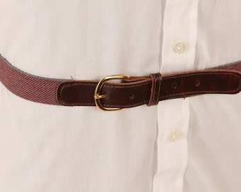 1980s Elastic Leather Mens Belt Gray Burgundy Size 44 Waist