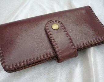 Bi-fold Woman Leather Clutch Wallet, Leather Wallet, Leather Purse Wallet, Handstiched, Hand-sewn