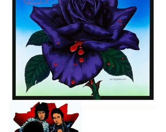 "Thin Lizzy Black Rose Album front and back 1976 16x11"" Print. Vintage Art, Retro, Rock and Roll, 70s, Vintage Vinyl, Painting."