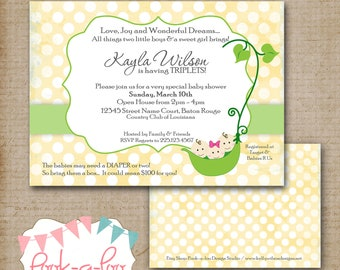 Sweet Pea Invitation... great for Triplets or Twins