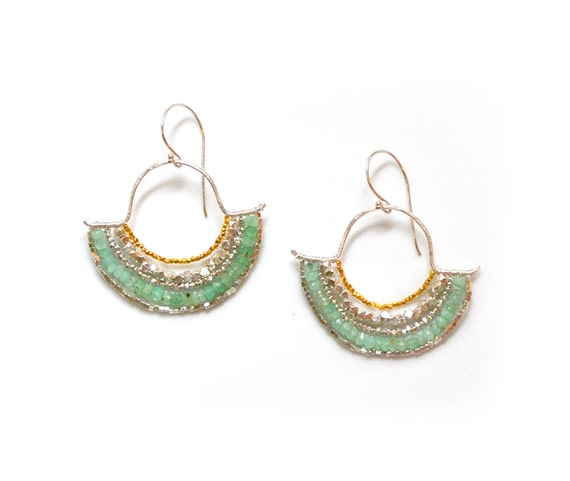 silver tribal earrings adorned with silver, gold and chrysoprase gemstones OOAK  ///  the loreley earrings no. 03