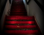 Red Magenta Vietnam Photography (Ho Chi Minh) Romantic Print Saigon Stairway.