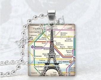 EIFFEL TOWER Paris France Map Scrabble Tile Art Pendant Charm