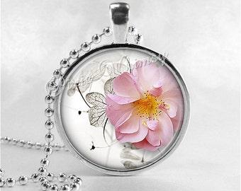 FLOWER Necklace, Flower Pendant, Flower Jewelry, Flower Charm, Glass Art Pendant Necklace, Pink Flower