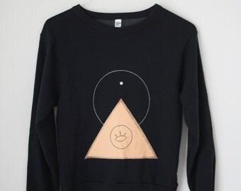 L / THE PYRAMID.EYE  N.1  /  new age drop shoulder sweater /  black . peach