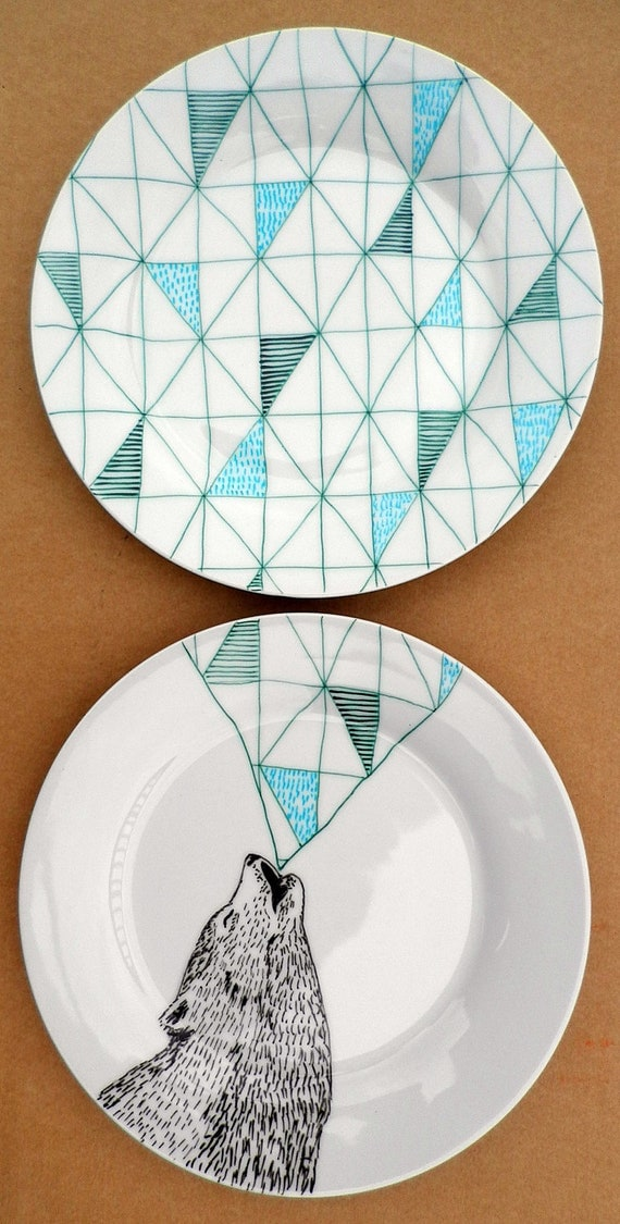Howling Wolf Geometric Design Plates hand illustrated porcelain