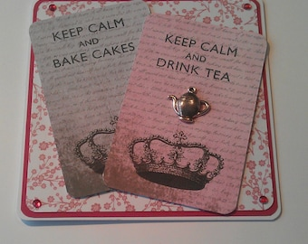 Keep calm and Drink Tea and Bake Cakes card.Blank inside, silvertone teapot on the front of card.