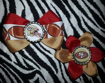 Sporty Bottlecap Bowtie Set Football San Francisco 49ers Hair Bow on Lined Alligator Clip