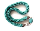 HANDMADE Turquoise big sand beads knitted necklace, handmade knitting necklace