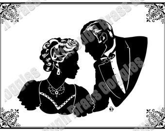 Victorian Silhouette Two Facing Lovers Portrait