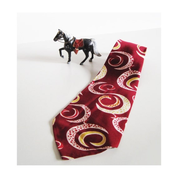 vintage with tags amazing 1940s burgundy tie cravat