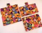Reusable Sandwich Bag, Snack Bag and Wrap - Halloween Pumpkins and Kitties - Set of 3