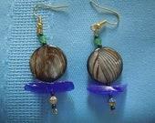 Beautiful Peacock Blue Sea Glass Earrings