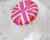 CLEARANCE SALE  Pink Gold and Red Princess Punk Union Jack Sparkle  Circle Saucer Hair Fascinator Pill Box Hat worn with hair clips