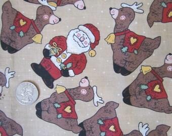 Santa and Reindeer on Brown             destash 139