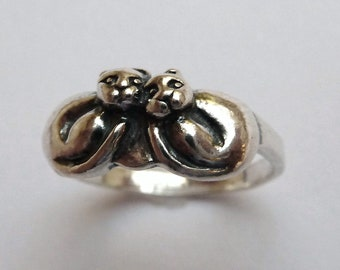 Sterling Silver Two Little Kittens Ring
