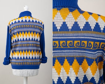 1970's Vintage Hipster Bright Blue and Yellow Turtleneck / Azteck pattern / Size 38