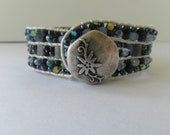 Shades of Blue, Tila, Fire-Polished and Seed Beads with Silver Leather Cord / Leather Wrap Bracelet
