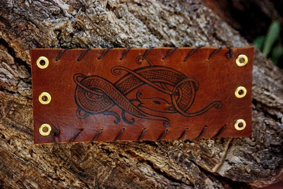Viking Dragon leather bracelet